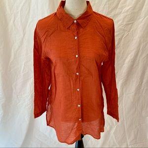 Eileen Fisher rust orange button down shirt M